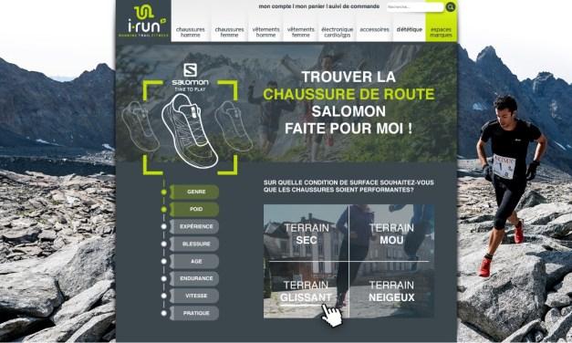 Shoe Finder Salomon, le nouvel outil du site i-Run.fr pour réussir son achat sur internet.
