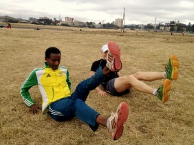 Run Africa Ethiopia visiting runner Phil at Jan Meda training ground