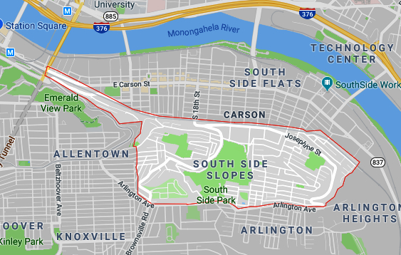 Google map of the Southside Slopes neighborhood of Pittsburgh, PA.