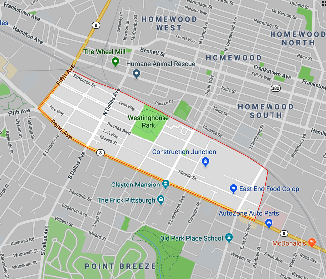 Map of North Point Breeze