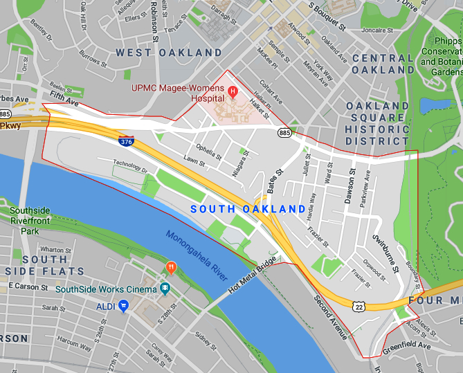 Map of the South Oakland Neighborhood of Pittsburgh