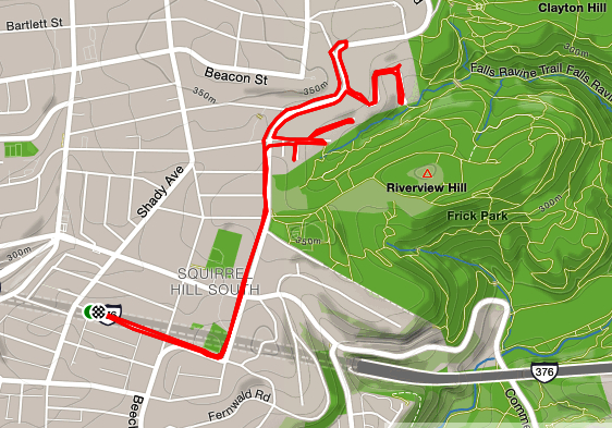 Map of South Squirrel Hill with running path traced on it.