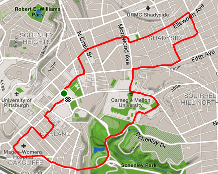 Strava map of a running route through Shadyside and Oakland.