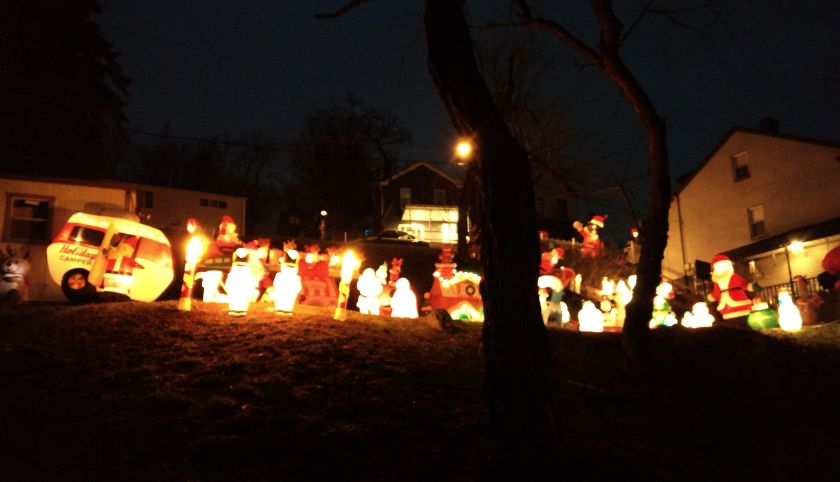 Holiday Decorations Lighting Up A Yard