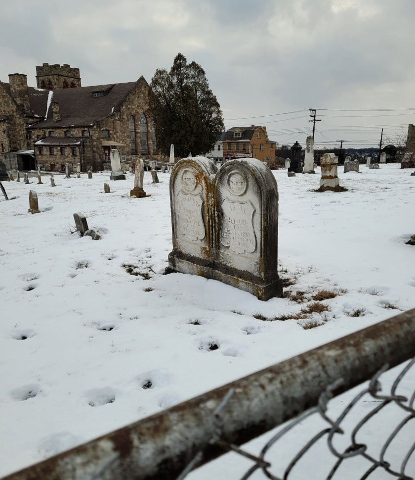 Headstones in Snow Covered Concord Plot