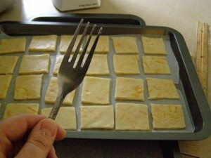 prick the crackers with a fork