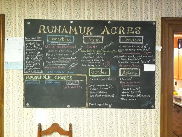 chalkboard at runamuk