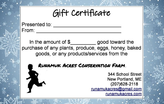 farm gift certificate runamuk acres