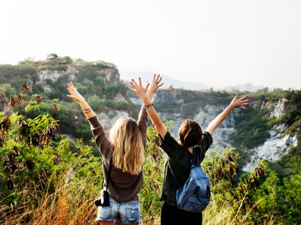 Young Women Travel Together Concept