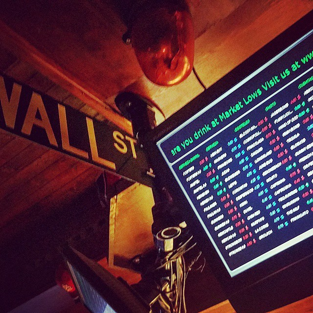 A tv screen lists various beer prices in red and green font - mimicking the stock exchange.