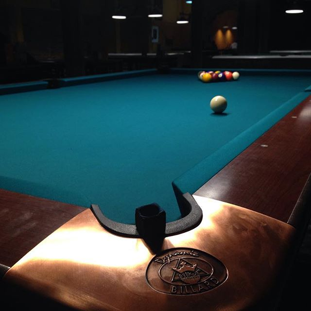A view from the corner of a pool table