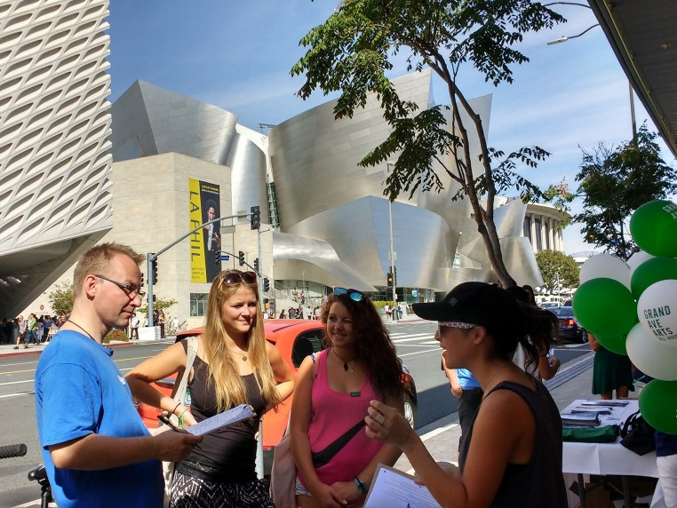 Ben, Steffi & Zeini on Grand Avenue in Downtown Los Angeles filling out a form with a marketing person.