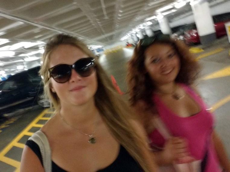 Stefanie Kuisle & Zeinab Greif walking to the car in the underground parking lot beneath the Los Angeles Music Center