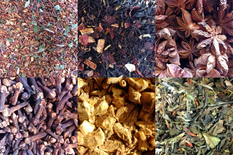 6 photos of close-ups of tea and herbs