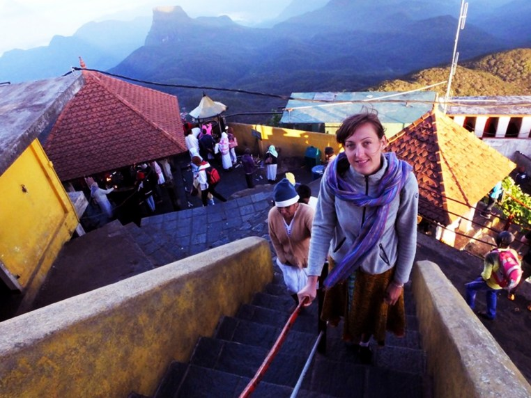 photo of Ida climbing stairs on a Sri Lankan hillside
