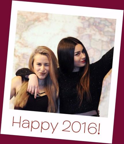 "a ""polaroid"" photo of Maya and Mia with ""Happy 2016"" written on the white border"