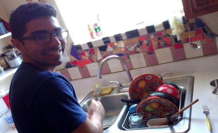 Davis at the kitchen sink