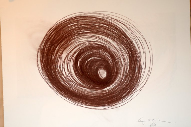 a drawing of a deep, tornado-like vortex of sepia-toned circles on white paper