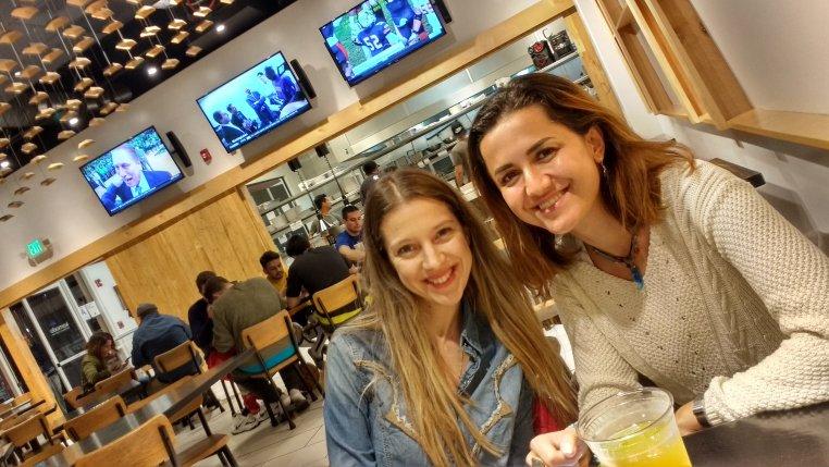 Pinar & Gizem having dinner in Venice