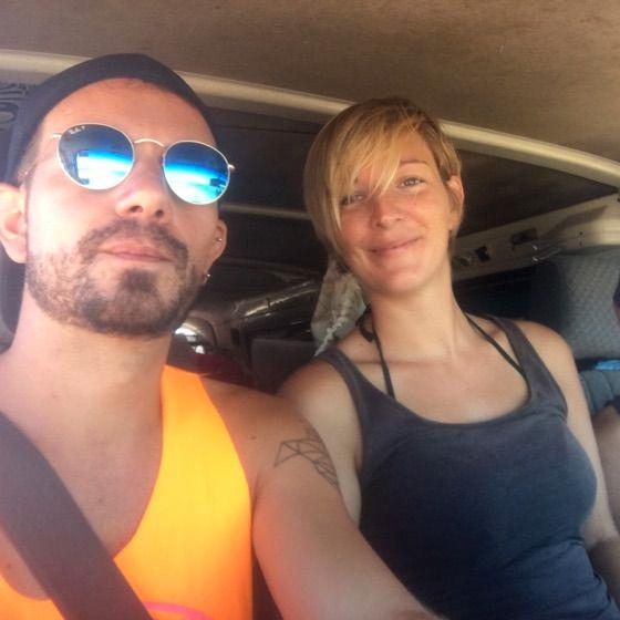 Mathiew & Amendine in an aeroplane