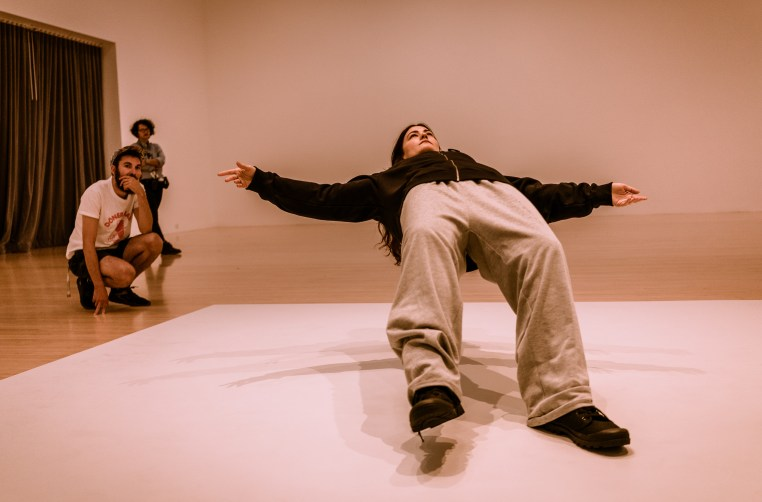 Benjamin Geyer viewing  Xu Zhen's In Just a Blink of an Eye at the Museum of Contemporary Art, Los Angeles