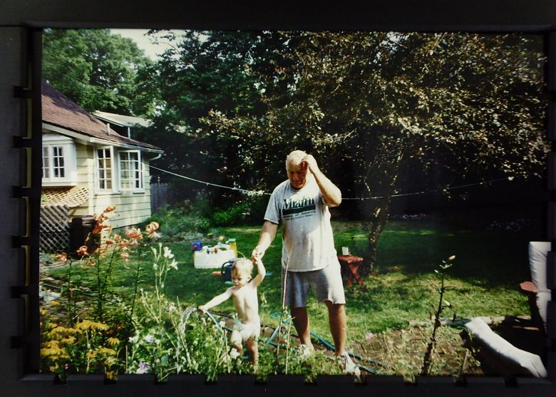 WIDOW cleaning yard after loss of spouse
