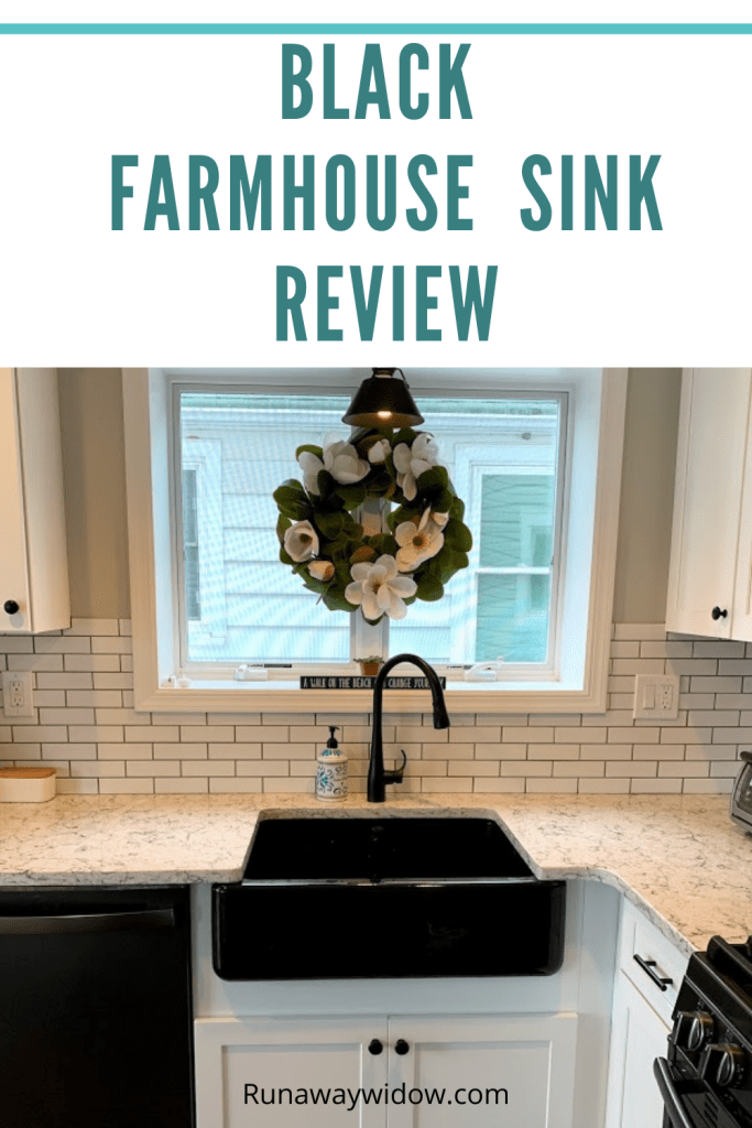 The Kohler black farmhouse sink is a beautiful unique addition to a newly renovated kitchen.