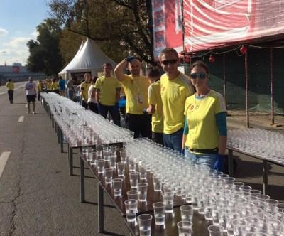 At Moscow Marathon Refreshment point 36km