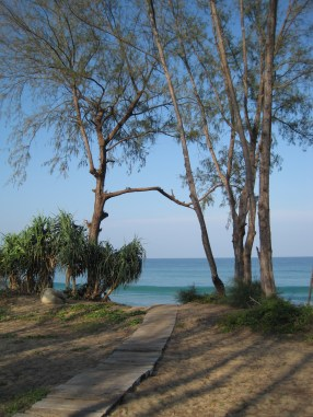 Walking to Mai Khao Beach.