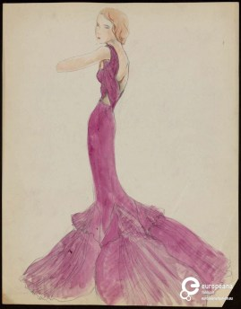Aftonklänning, troligen signerad Martiale Constantini. Skiss från Collection Les arts décoratifs, Paris