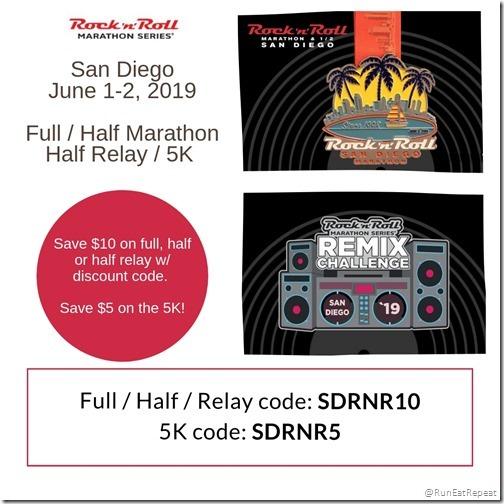 Rock N Roll San Diego Marathon Half Marathon 5K Relay Discount Code 2019