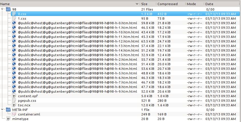 ePUB file contents