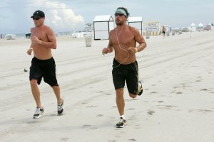 Matthew McConaughey and Lance Armstrong are seen jogging and working out on South Beach in Miami, FL. Ref: NRFL 220806 A     Splash News and Pictures Los Angeles:310-821-2666 New York:	212-619-2666 London:	207-107-2666 photodesk@splashnews.com www.splashnews.com
