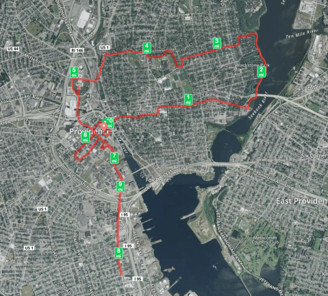 Sunday Morning 10 miler. The hill up to Brown University was killer!