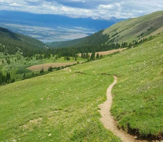 Hope Pass on the Leadville 100 run Course looking at Twin Lakes
