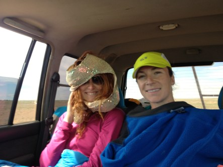 chillin in the land rover. I used to figure skate in this makeshift turban (gold sequined overcoat).