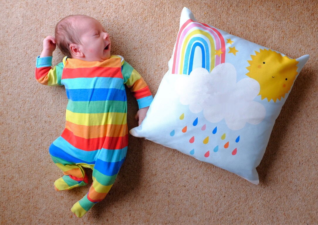 baby and rain cloud cushion from getting personal.co.uk
