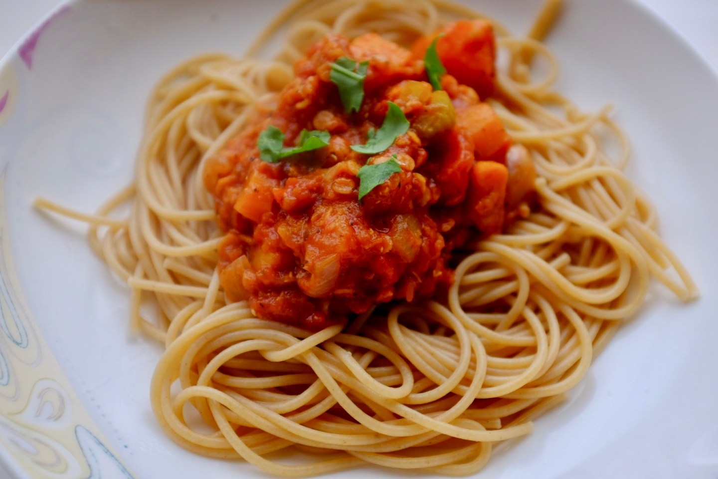 lentil and sweet potato bolognaise