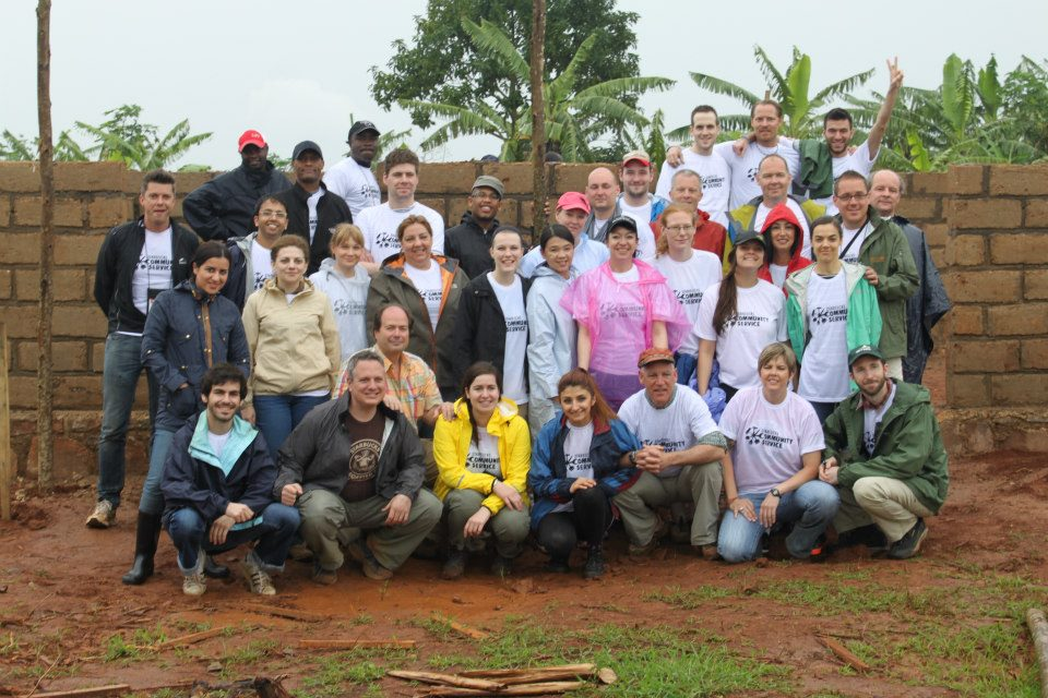 My team prior to getting down and dirty to help build the Health Clinic.
