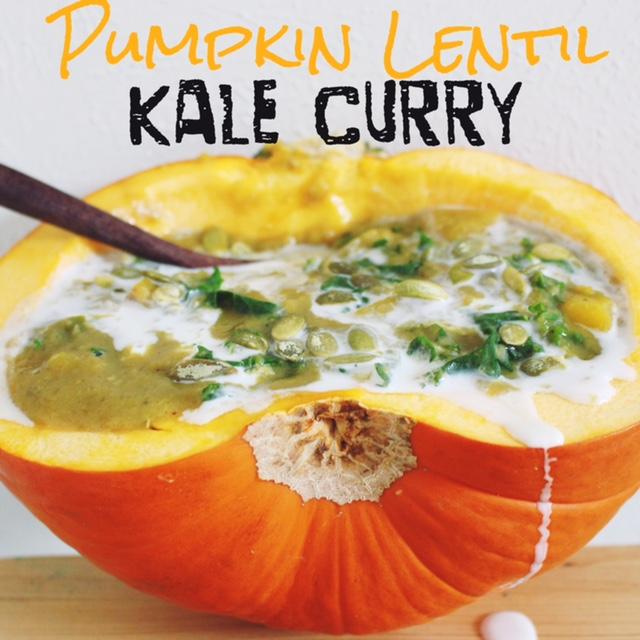 Incredible Pumpkin Lentil Kale Curry via RunLikeKale