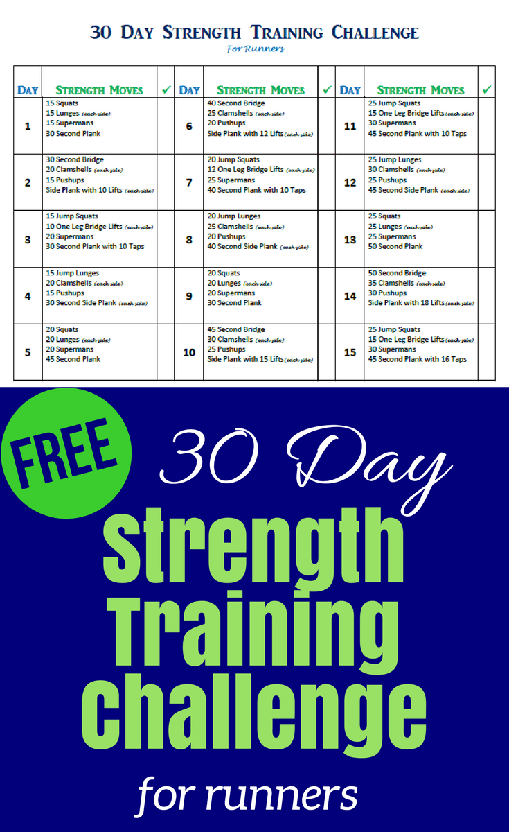 This 30 day strength training challenge is available for a free download. It includes running tips for beginners to start a strength training routine and keep running injury free, all in less than 10 minutes a day!