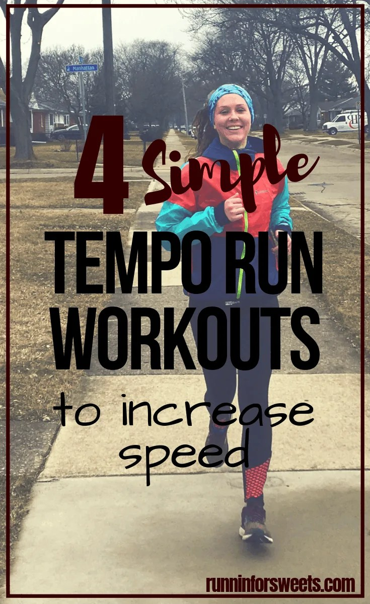These tempo run workouts are an excellent resources for beginners and experienced runners alike. 4 tempo run variations are all you need to increase your fitness, whether you're running for fun, training for a half marathon, or getting ready for long distance running. These easy running workouts will help you to get faster outdoors! #temporun #tempoworkout #increasespeed #runningworkout