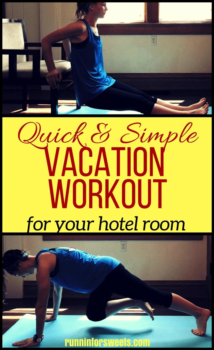 This full body vacation workout will help you stay in fit while you travel in less than 30 minutes. These exercises are perfect for any person hoping to incorporate some fitness into their vacation. These moves will sculpt your body and help you stay lean in your hotel room! #vacationworkout #travelworkout