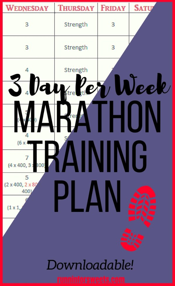 Marathon Training Plan - Train for a marathon in just 3 days per week! This low mileage marathon training plan will help you maintain a social life while training for your biggest race yet.