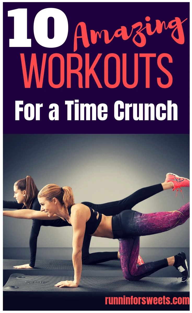 Short on time and struggling to fit in any exercise? Here are the best 10 workouts for a time crunch. This quick workouts are effective, burn calories, and require no equipment. Fit in a workout anywhere! #workoutideas #athomeworkouts #freeworkouts