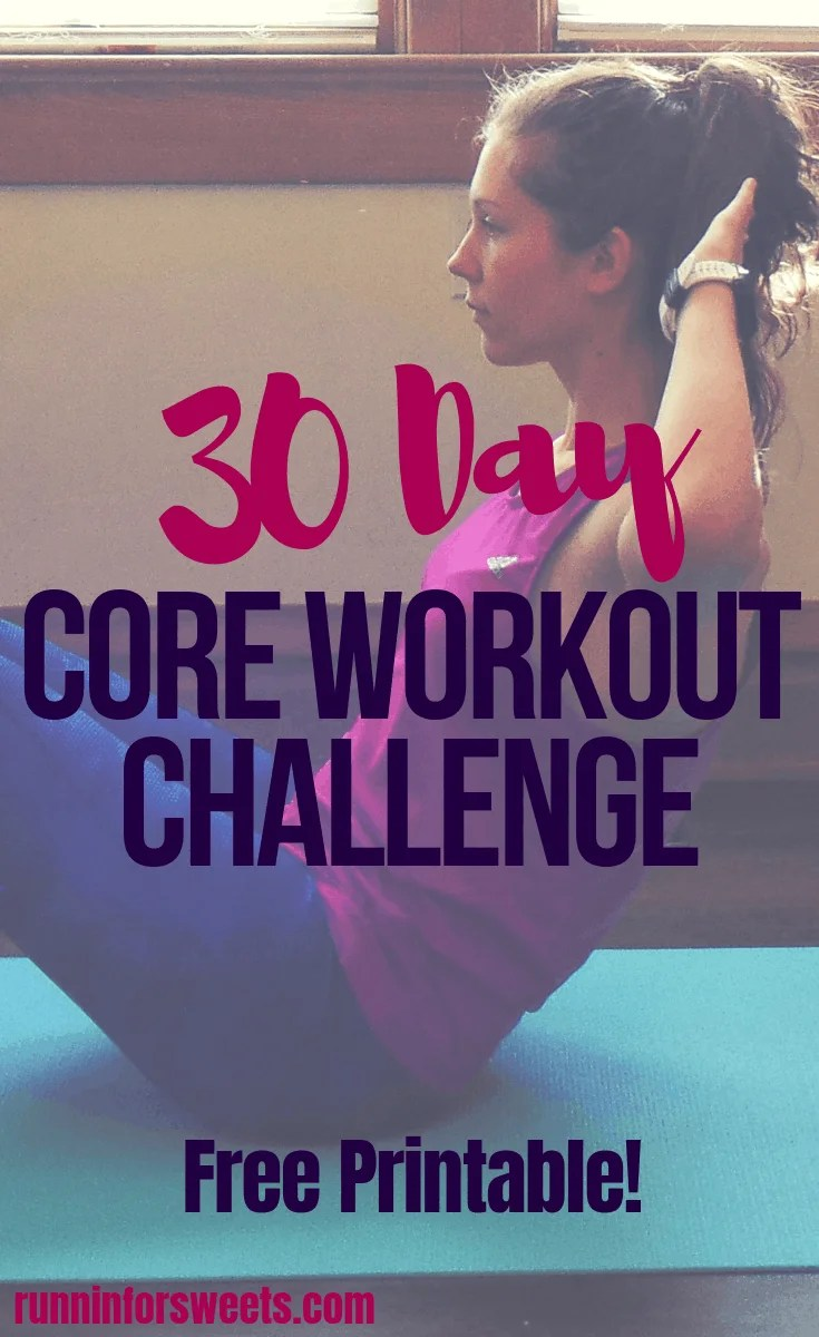 This 30 day core workout challenge will help you get flat abs in less that 15 minutes a day! Download the free printable calendar of daily ab workouts for one month to get started toning your abs and increasing core strength. These ab exercises can all be completed at home and are designed to burn calories quickly and tone your core! Download this 30 day core workout calendar now. #coreworkout #abexercises #workoutchallenge #30dayworkoutcalendar