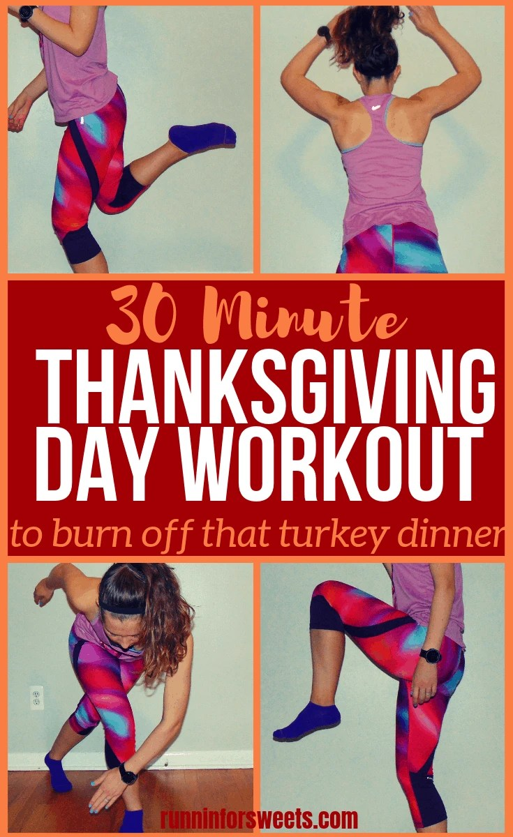 This thanksgiving workout is the ultimate holiday calorie burn. If you're looking for ideas to burn off thanksgiving dinner or complete for some pre-thanksgiving endorphins, this 30 minute workout is what you need. Complete three 10 minute sets in this thanksgiving workout challenge for the ultimate calorie burn right at home, with no equipment. These bodyweight exercises will give you the motivation to enjoy thanksgiving dinner guilt free! #thanksgivingworkout #holidayworkouts #themedworkouts