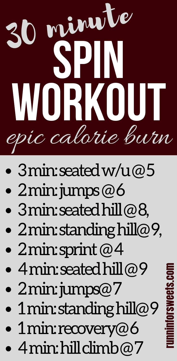 This 30 minute spin workout routine is the ultimate way to burn calories indoors. Challenge yourself to the intervals in this indoor cycling workout! The ultimate hiit workout on the stationary bike. This 30 minute workout is a fun way to burn massive calories! #spinworkout #indoorcyclingworkout #spinclass