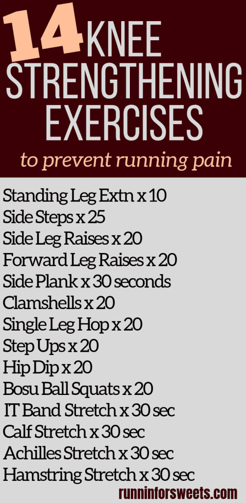 These 10 knee strengthening exercises for runners are essential for treating knee pain and runner's knee! Try these exercises at home to quickly recover and gain strength. Add these 4 running stretches for the ultimate routine to prevent knee pain. #kneestrength #runnersknee #kneepain #kneeexercises