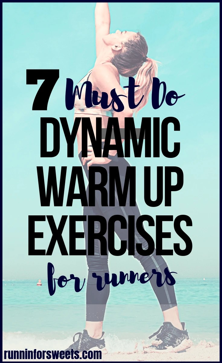 These 7 running warm up exercises will keep you healthy and fit on the run in less than 5 minutes! Complete this pre-run dynamic stretching routine to avoid injury and stay pain free. These dynamic exercises are crucial for runners during training for strong, healthy muscles. #runningwarmup #dynamicwarmup #warmupexercises #dynamicstretching